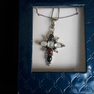 Jewelry - Sterling silver Cross with colored stones